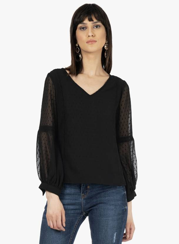cbecb09b763 FabAlley Casual Full Sleeve Solid Women s Black Top - Buy FabAlley ...