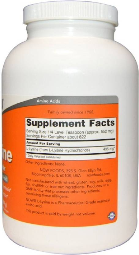Now Foods Now Foods, L-Lysine Pure Powder, Price in India - Buy Now