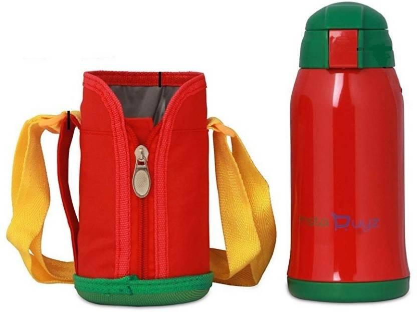 9df54d2097 Instabuyz Insulated Stainless Steel, Dual Cap with Straw & Strap for Kids  with Beautiful Cloth Cover 600 ml Water Bottle (Set of 1, Red)