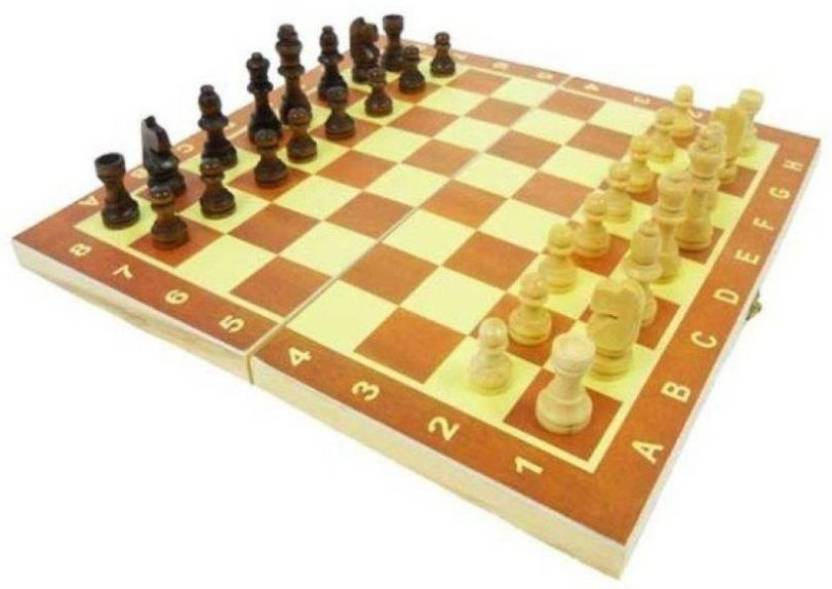 Konex Wooden Chess Board With 32 Pawns Coins Large 14 Inch Chess