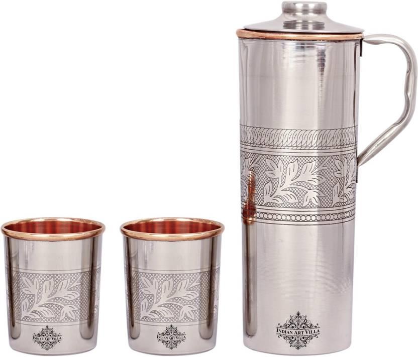 8965c5e2d5e IndianArtVilla Steel Copper Embossed Set of 1 Fridge Bottle with 2 Glass  1400 ml Bottle (Pack of 3