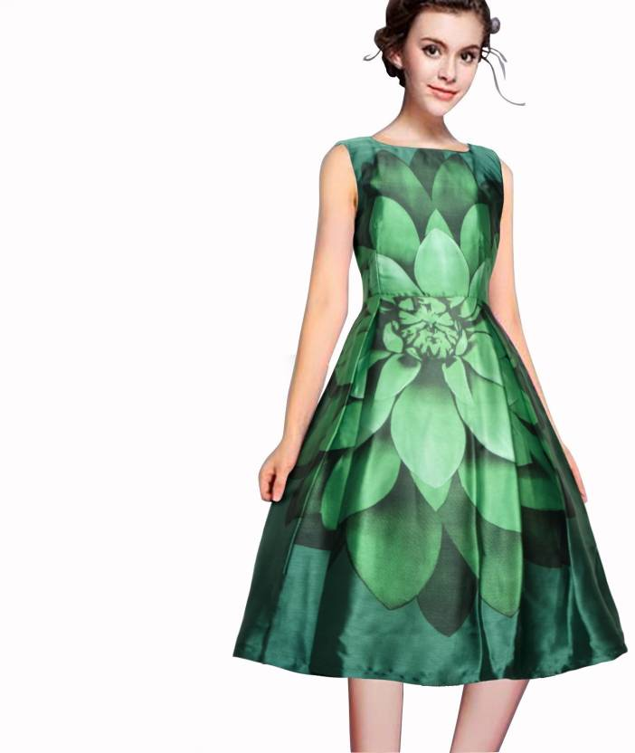 ef0cf27f621b1 Arth Creation Women's Fit and Flare Green Dress - Buy Arth Creation Women's  Fit and Flare Green Dress Online at Best Prices in India   Flipkart.com