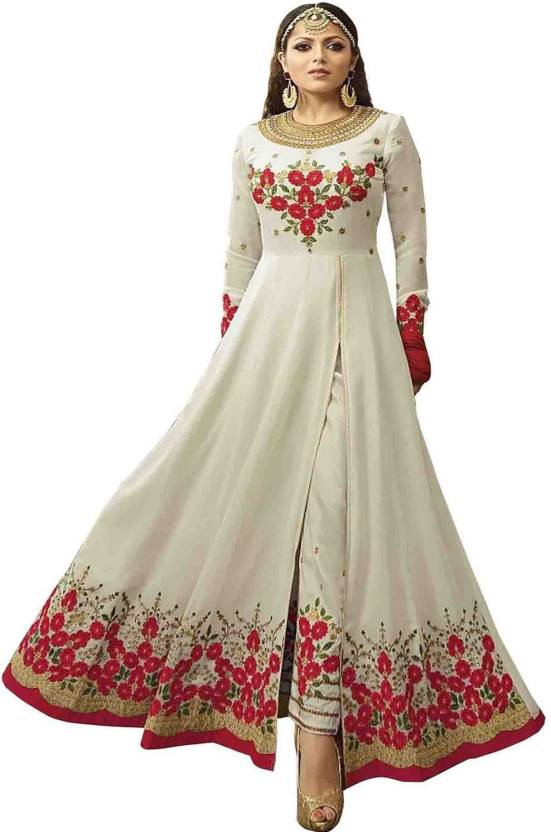 54661cc81b YOYO Fashion Faux Georgette Embroidered Semi-stitched Gown & Salwar Material  Price in India - Buy YOYO Fashion Faux Georgette Embroidered Semi-stitched  Gown ...