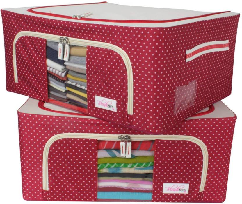 Blushbees Living Box Closet Organizer Cloth Storage Bo For Wardrobe Pack Of 2 Polka Dot Red