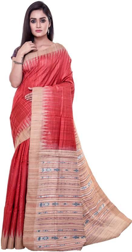 edc22312c95364 Buy Rene Printed Ikkat Ghicha Tussar Silk Red Sarees Online   Best ...