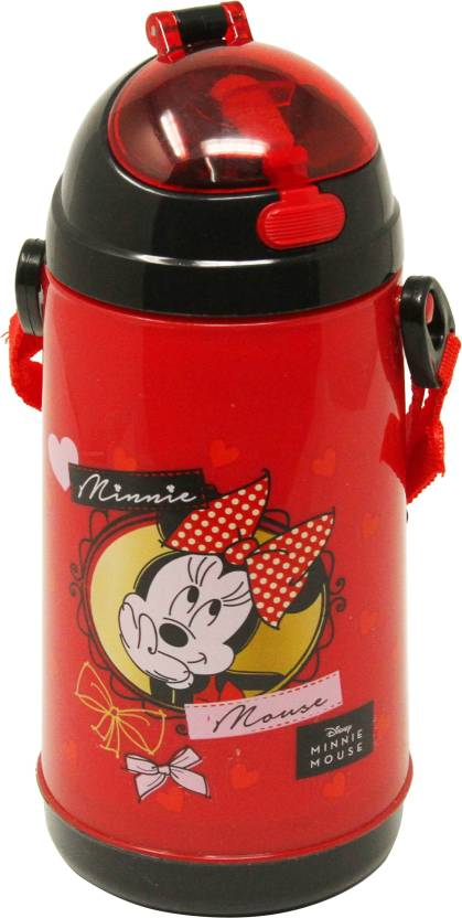 Disney MINNIE 600 ml Water Bottle Set of 1, Red