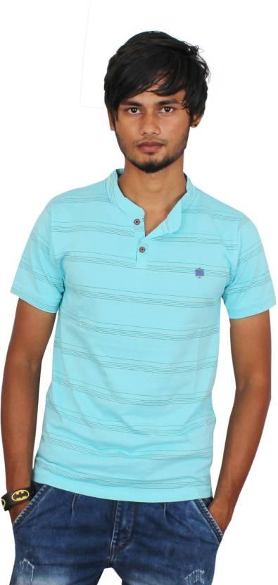 a9d8e1889 Uptown Funk Striped Men's Mandarin Collar Light Blue T-Shirt - Buy Uptown  Funk Striped Men's Mandarin Collar Light Blue T-Shirt Online at Best Prices  in ...