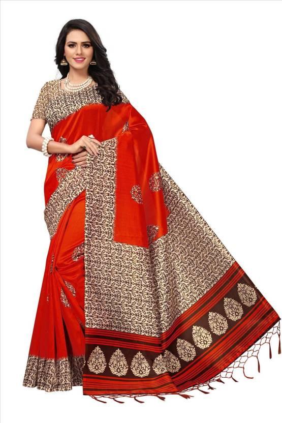 2ad27c4570 Buy Saree Exotica Floral Print Mysore Art Silk Orange Sarees Online ...