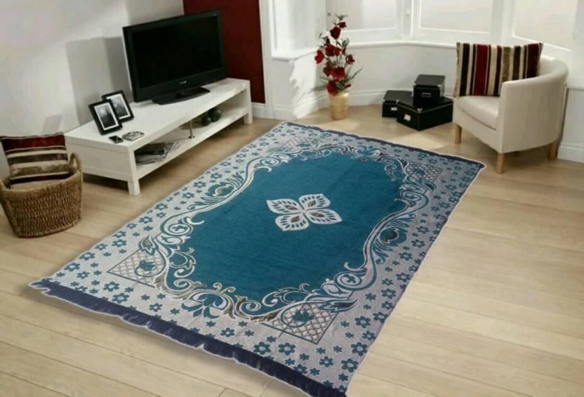 SRS HOME Beige Chenille Carpet (152 cm X 182 cm)