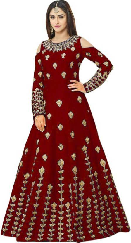 94322389d1c1 Mert India Cotton Polyester Blend Embroidered Semi-stitched Gown ...
