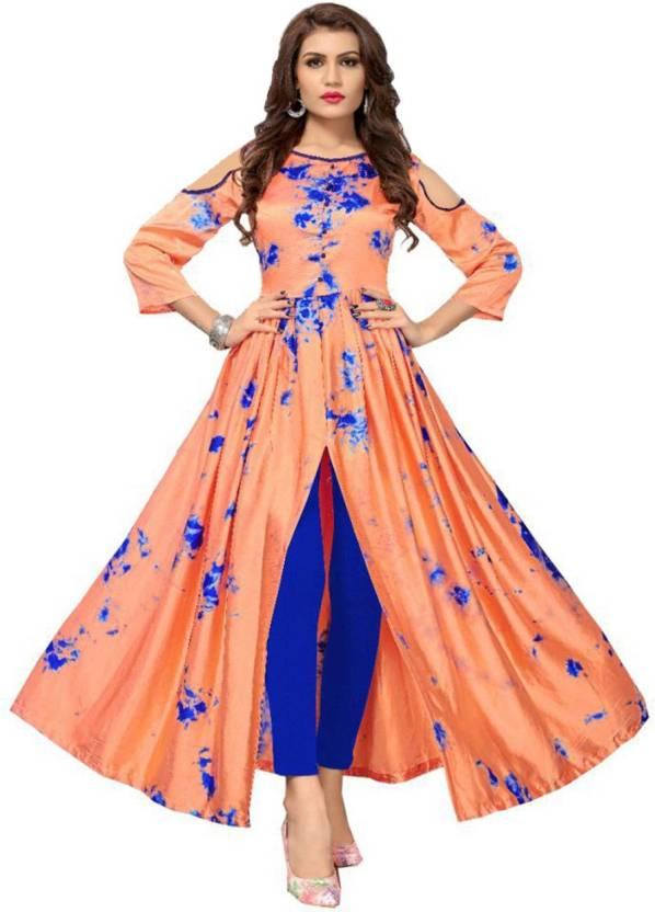 b4cfdc3091 Lady Ethnic Festive & Party Abstract, Printed Women Kurti (Orange, Blue)