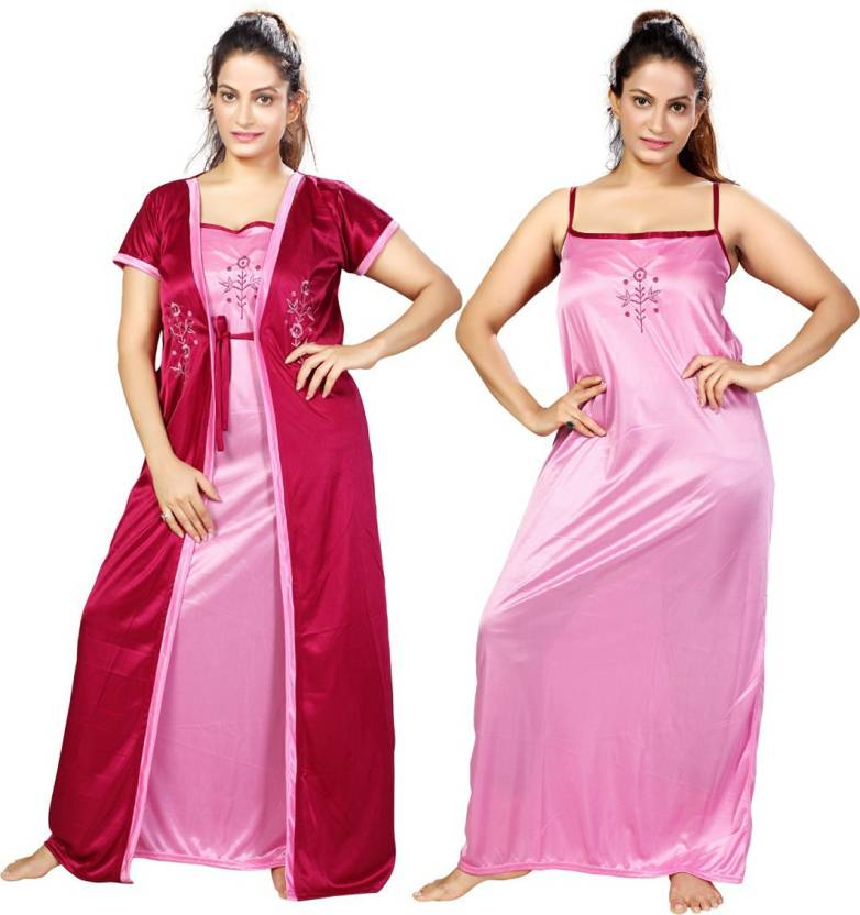 a84a456c30d Mahaarani Women Nighty with Robe - Buy Mahaarani Women Nighty with ...