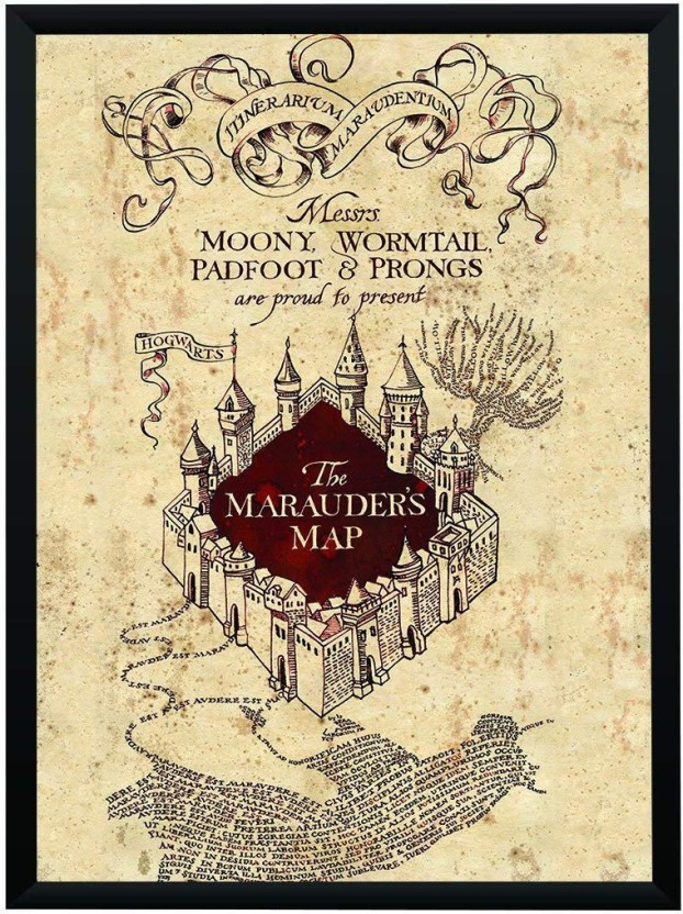 photograph about Marauders Map Printable identified as WB Formal Certified Harry Potter Marauders Map Poster A3+