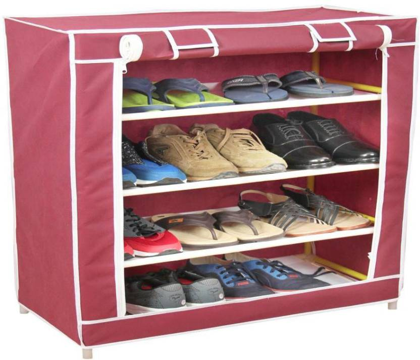 Novatic Plastic, Fabric Collapsible Shoe Stand 4 Shelves