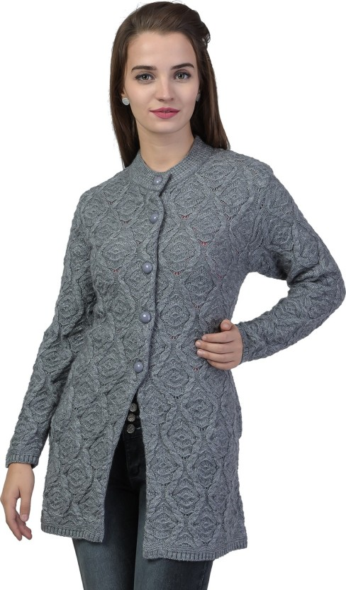 Design Round Neck Casual Women Grey Sweater , Buy TAB91 Self Design  Round Neck Casual Women Grey Sweater Online at Best Prices in India
