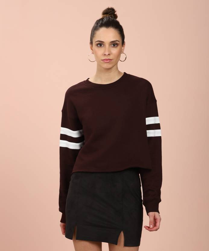 dcf8f7058eb Forever 21 Casual Full Sleeve Solid Women s Brown Top - Buy AUBERGINE CREAM  Forever 21 Casual Full Sleeve Solid Women s Brown Top Online at Best Prices  in ...