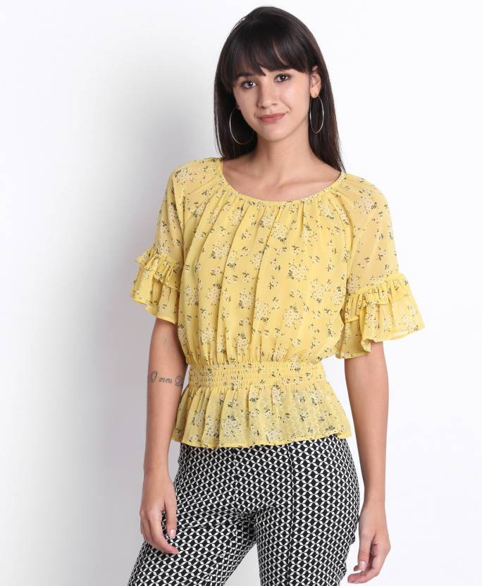 b93a4ebea5d1 Lee Cooper by FBB Casual Bell Sleeve Floral Print Women s Yellow Top - Buy Lee  Cooper by FBB Casual Bell Sleeve Floral Print Women s Yellow Top Online at  ...