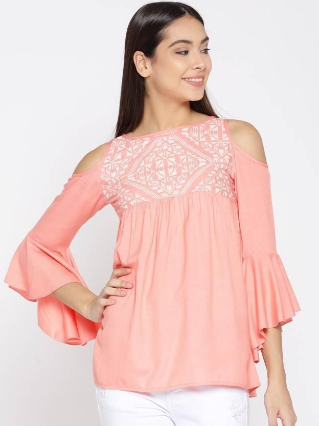 c6b692b2e4b94 MsFQ Casual Cold Shoulder Printed Women s Pink Top - Buy MsFQ Casual Cold  Shoulder Printed Women s Pink Top Online at Best Prices in India