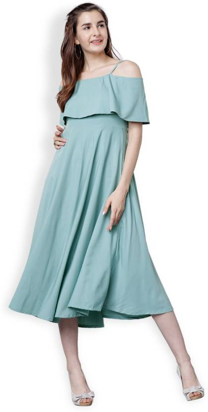 951f0643f40 Tokyo Talkies Women s Fit and Flare Green Dress - Buy Tokyo Talkies Women s  Fit and Flare Green Dress Online at Best Prices in India