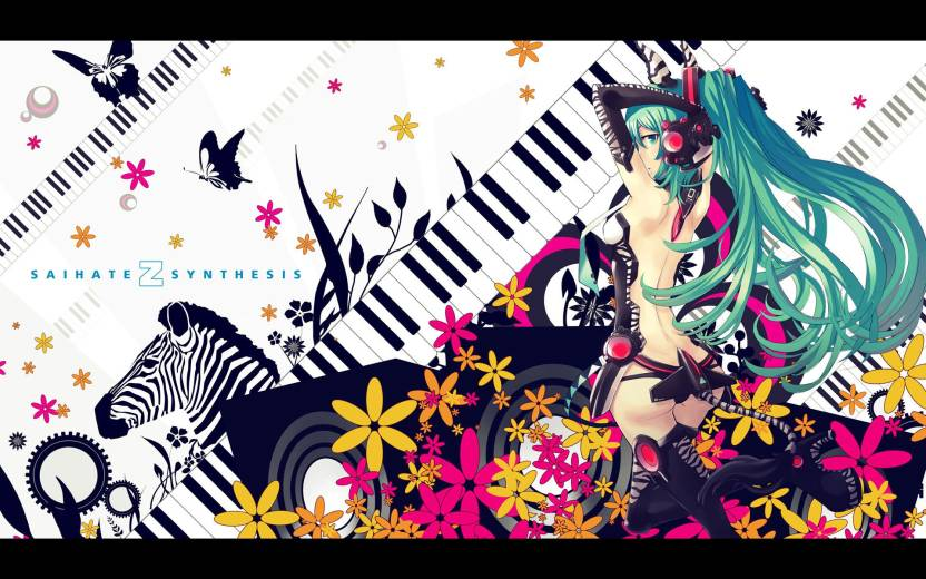 Athah Anime Vocaloid Hatsune Miku Piano Zebra 1319 Inches Wall Poster Matte Finish Paper
