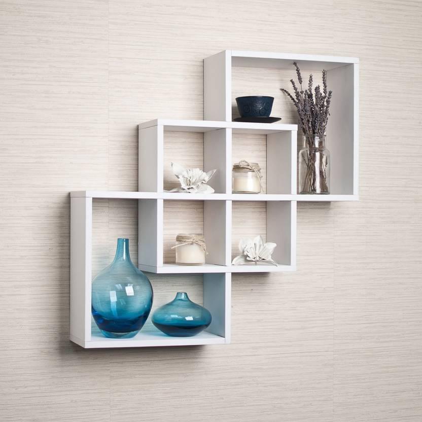 Onlinepurchas Beautiful Wall Rack Shelf Wooden Number Of Shelves 7 White