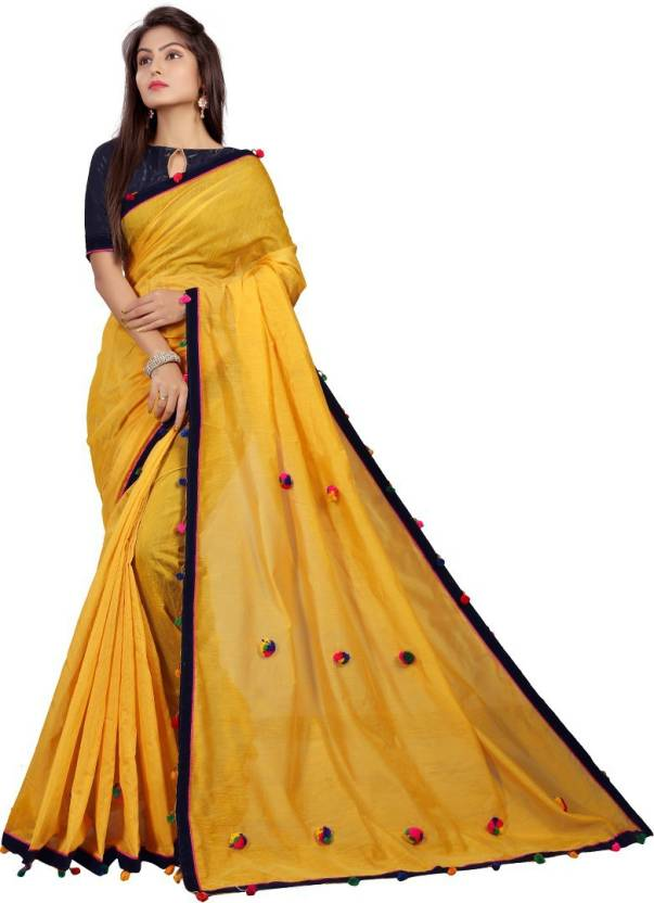 e6561bf452f57d Buy Mukta Fashion Wear Solid Handloom Cotton Silk Yellow Sarees ...