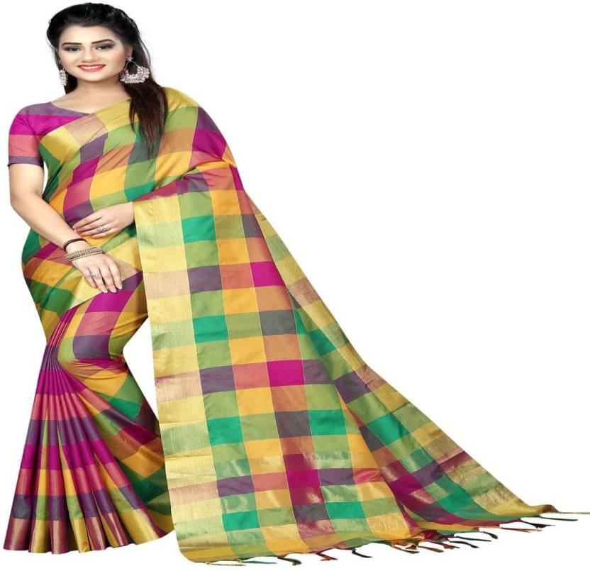 7b4f59a43 Buy EnVogue Checkered Fashion Silk Multicolor Sarees Online @ Best ...