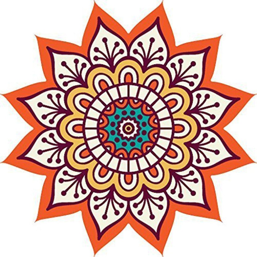 Diwali Decoration Festival Rangoli Pattern Floor Sticker PVC Vinyl 60 cm x 60 cm