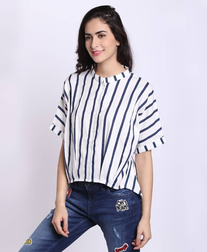 a9223c96e6ca Lee Cooper by fbb Casual Half Sleeve Striped Women s White Top - Buy Lee  Cooper by fbb Casual Half Sleeve Striped Women s White Top Online at Best  Prices in ...