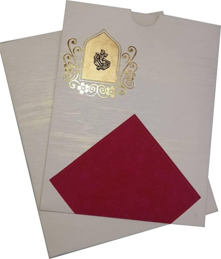 Lovely Royal White Hindu Wedding Card Set Of 50 Cards