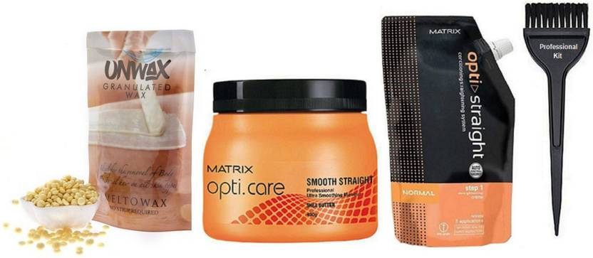 Professional kit Hair Brush,Matrix Opticare Smooth Perfect Spa With Conditioning Hair Straightener Cream& Unwax