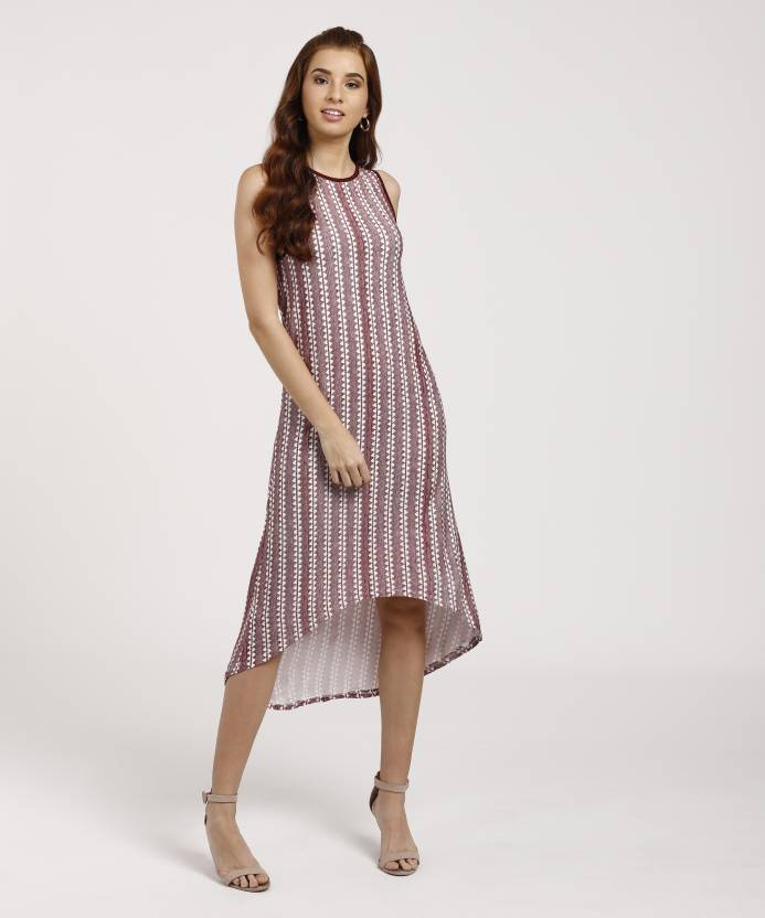 13ac632f0e3f Deal Jeans Women s A-line Multicolor Dress - Buy MAROON Deal Jeans Women s  A-line Multicolor Dress Online at Best Prices in India