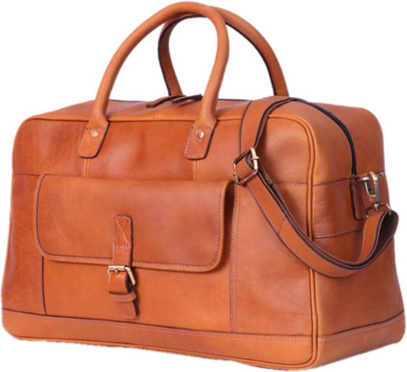 d8f5cb67624d Zakara Leather Weekend Men s   Women s Travel Duffel Bag Tan Brown ...
