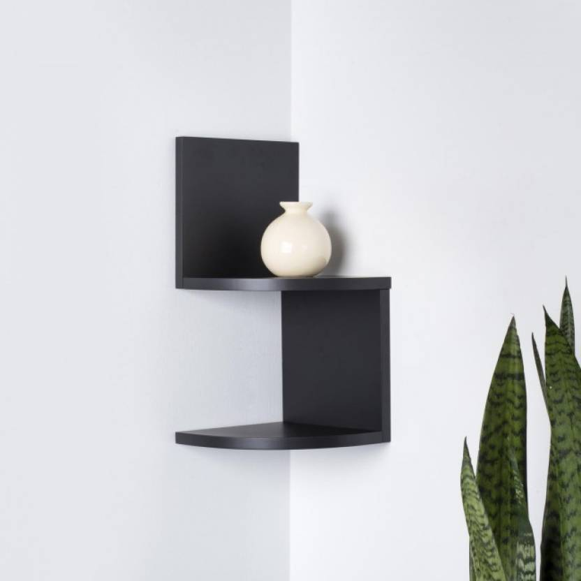 Onlinepurchas Beautiful Wall Rack Shelf Wooden Number Of Shelves 2 Black