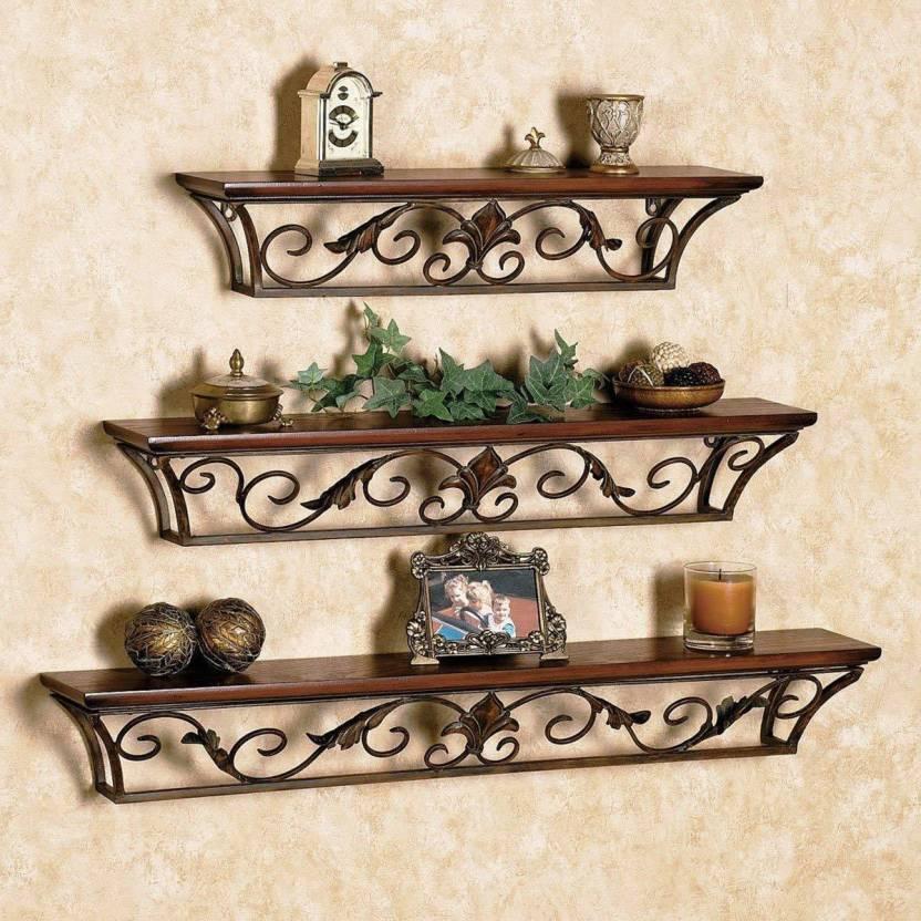 Beyond Collection Wooden Iron Antique Set Of 3 Shelves Wall Shelf