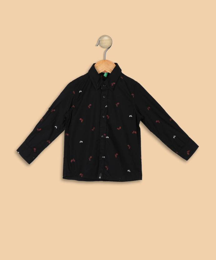 87d9b081121d United Colors of Benetton Boys Printed Casual Black Shirt - Buy ...