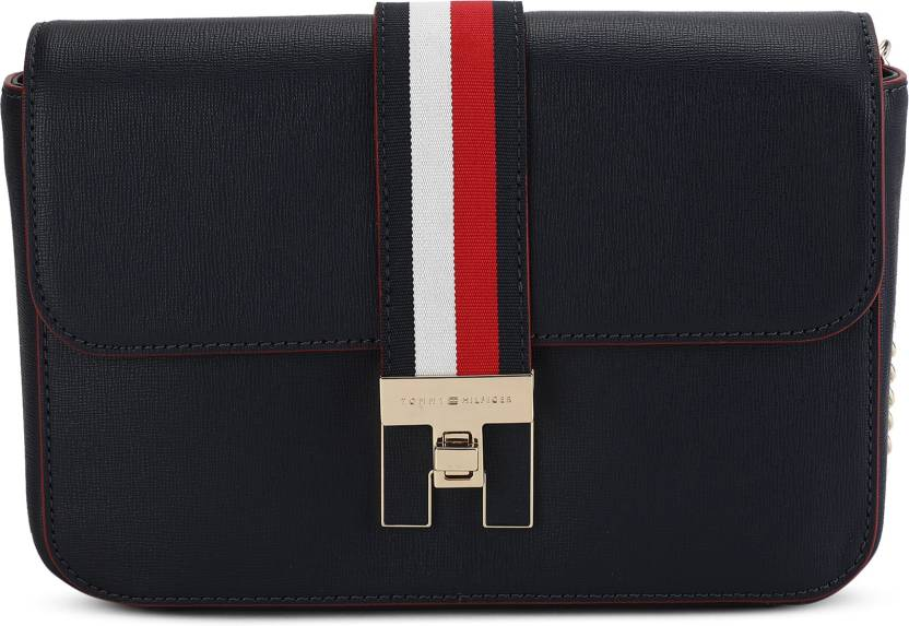 6320c209b58 Tommy Hilfiger Women Casual Blue PU Sling Bag Tommy Navy / Tommy Red -  Price in India | Flipkart.com