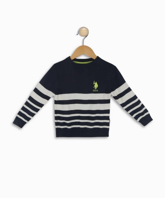 295272ea52f US Polo Kids Striped Round Neck Casual Boys Dark Blue Sweater