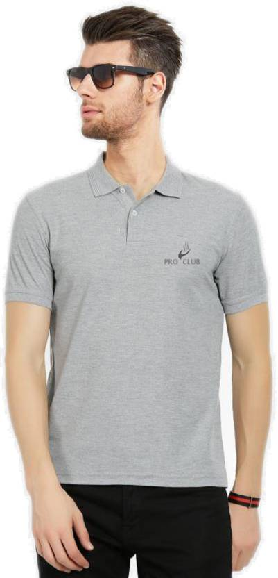66c18105e PRO CLUB Solid Men Polo Neck Grey T-Shirt - Buy PRO CLUB Solid Men Polo  Neck Grey T-Shirt Online at Best Prices in India | Flipkart.com