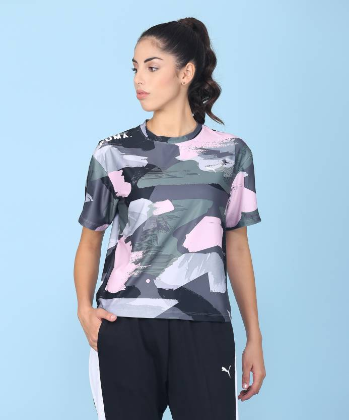 8b9e096655c1 Puma Printed Women s Round Neck Multicolor T-Shirt - Buy Puma Printed  Women s Round Neck Multicolor T-Shirt Online at Best Prices in India