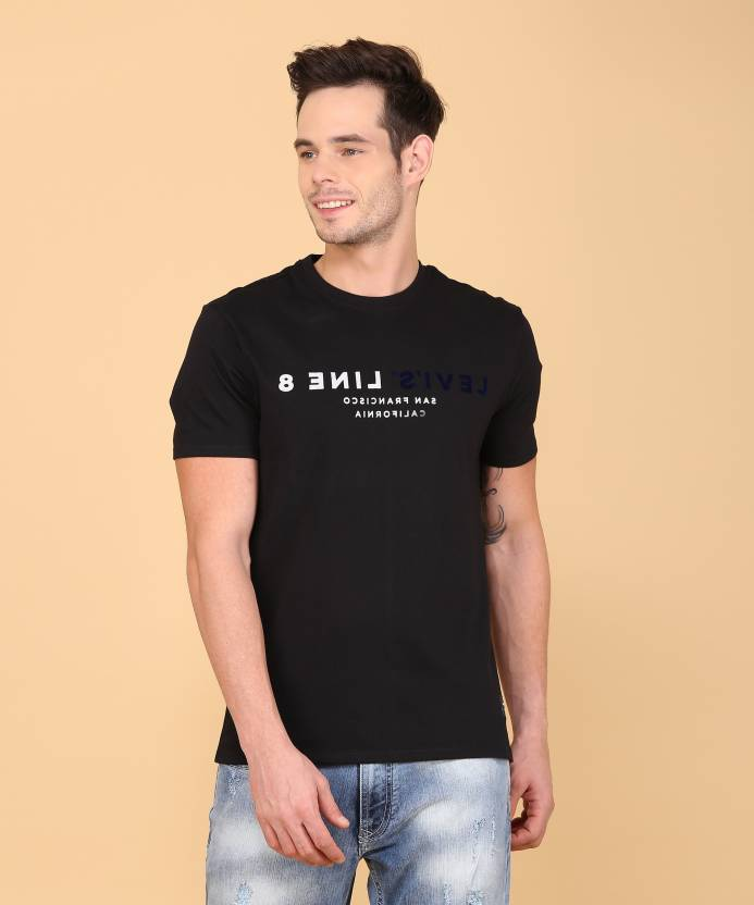 16b64b0a Levi's Printed Men Round Neck Black T-Shirt - Buy Levi's Printed Men Round  Neck Black T-Shirt Online at Best Prices in India | Flipkart.com