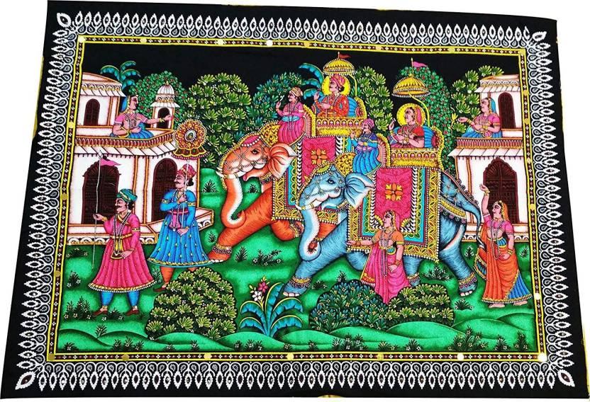 05f33c597f SAARTHI Rajasthani Decorative Handpainted Elegant Multicolour Elephant  Tapestry Fabric Painting |Cloth Painting |Wall/