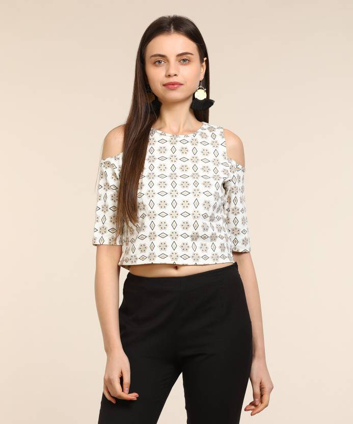 a856c3488b3 Global Desi Casual Cold Shoulder Printed Women's White Top - Buy White  Global Desi Casual Cold Shoulder Printed Women's White Top Online at Best  Prices in ...