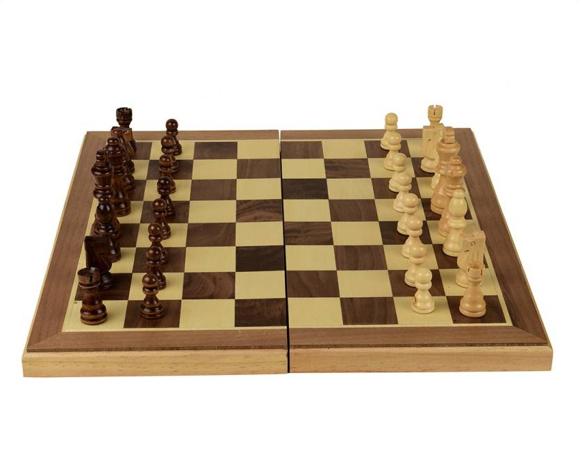 Arrowmax 16 Inch Wooden Chessboard With Wooden Coins By One Shot