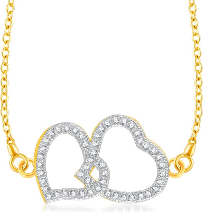 VK Jewels Attached Heart Gold-plated Cubic Zirconia Brass