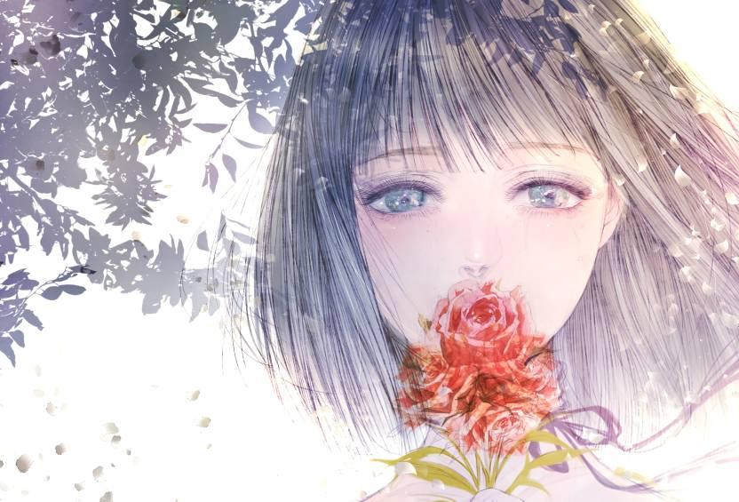 Athah Anime Original Girl Short Hair White Hair Blue Eyes Blush