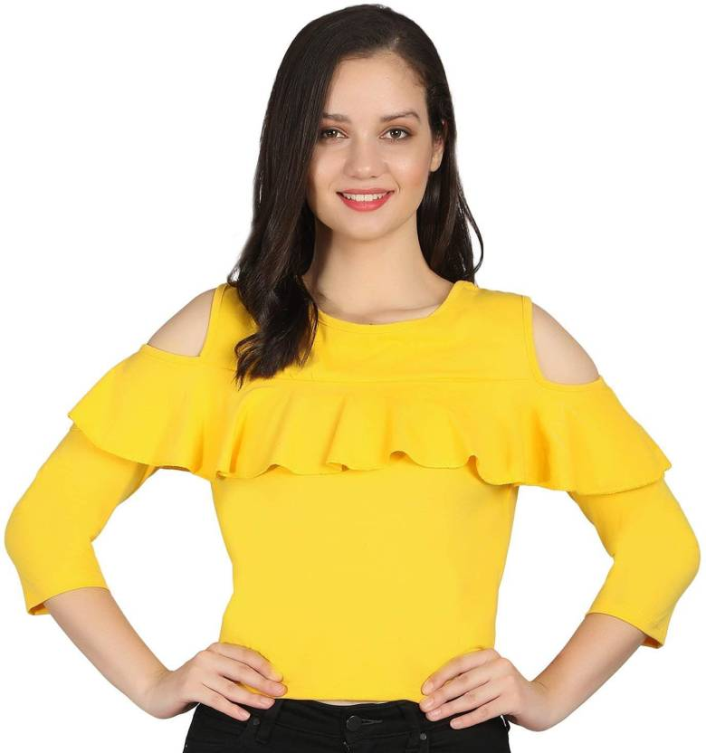 0bc99e86ce2 Raabta Fashion Formal Cold Shoulder Solid Women's Yellow Top - Buy Raabta  Fashion Formal Cold Shoulder Solid Women's Yellow Top Online at Best Prices  in ...