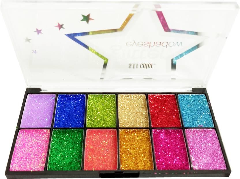 9d0a431046 S.F.R Color 12 Color Eye Shadow Palette Glitter (No-6732) 14 g (MultiColor)
