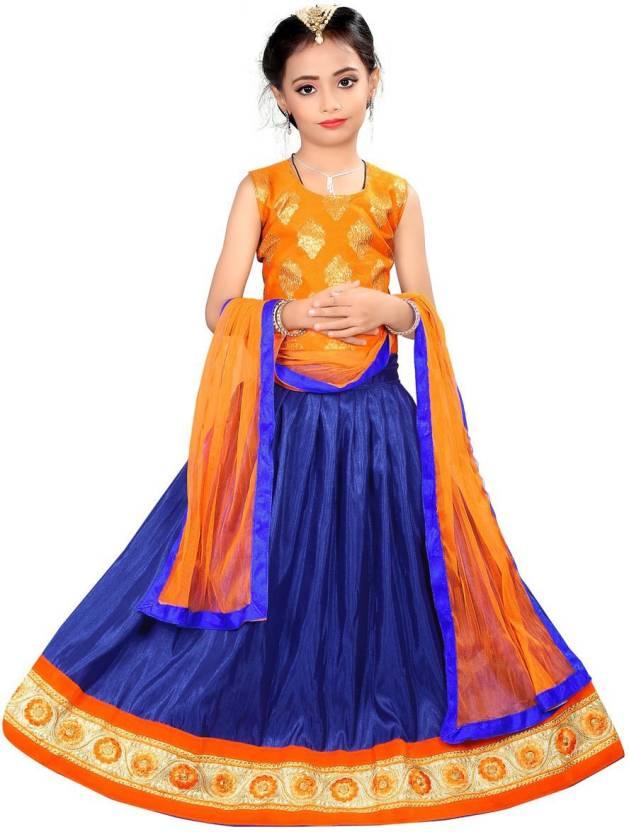84dcd82c5b Arrow Fashion Girls Lehenga Choli Ethnic Wear Printed Lehenga Choli (Blue,  Pack of 1)