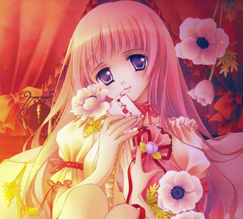 Athah Anime Original Long Hair Blonde Smile Flower Letter Heart